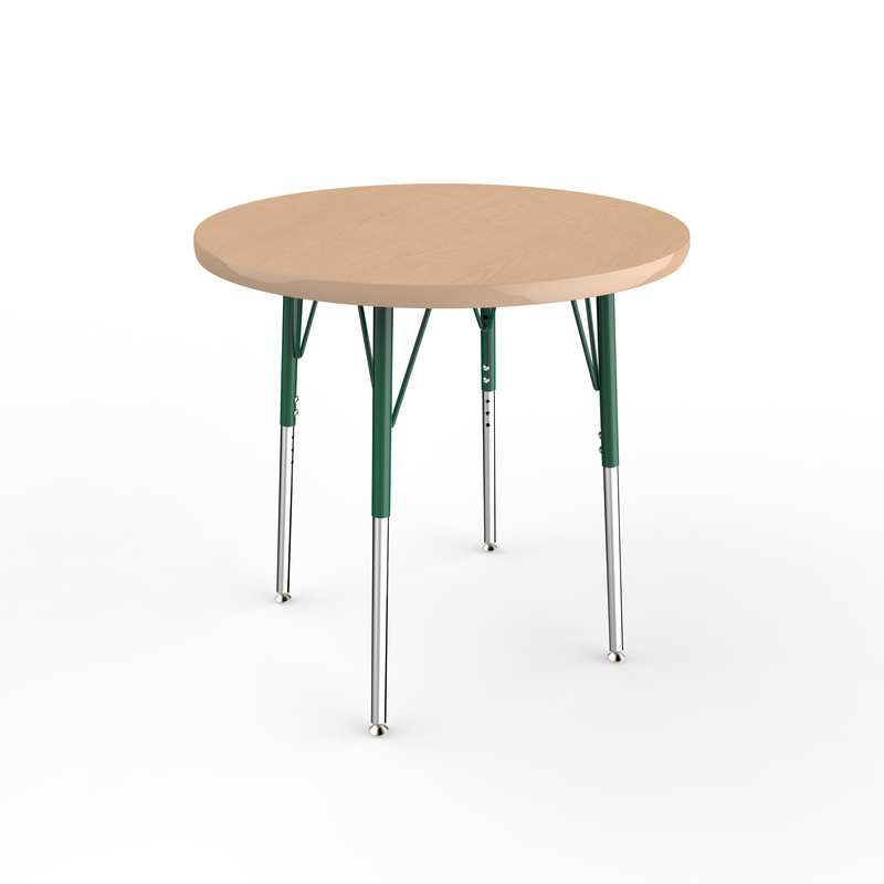 30in Round Premium Thermo-Fused Adjustable Activity Table Maple/Maple/Green - Standard Swivel