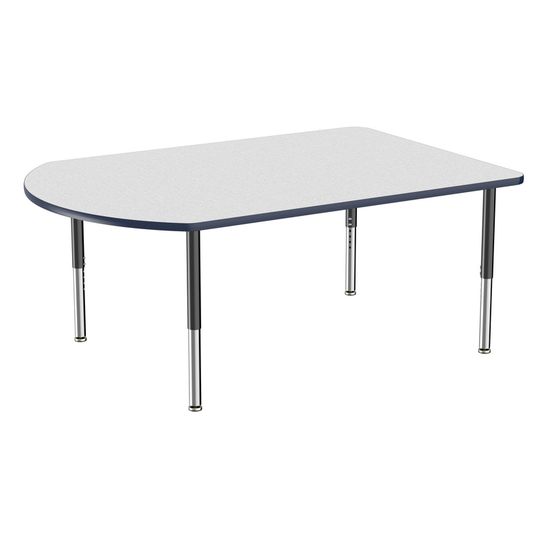 48in x 72in Work Around Premium Thermo-Fused Adjustable Activity Table Grey/Navy/Black - Super Leg