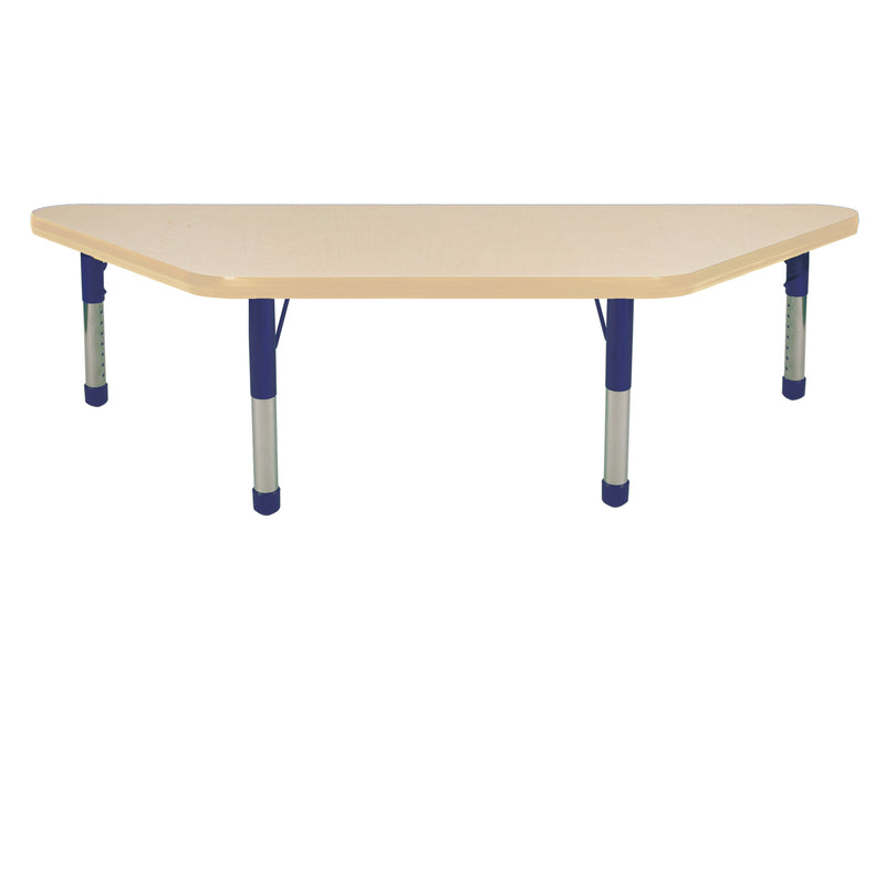 24in x 48in Trapezoid Premium Thermo-Fused Adjustable Activity Table Maple/Maple/Navy - Chunky Leg