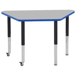 24in x 48in Trapezoid Premium Thermo-Fused Adjustable Activity Table Grey/Blue/Black - Super Leg