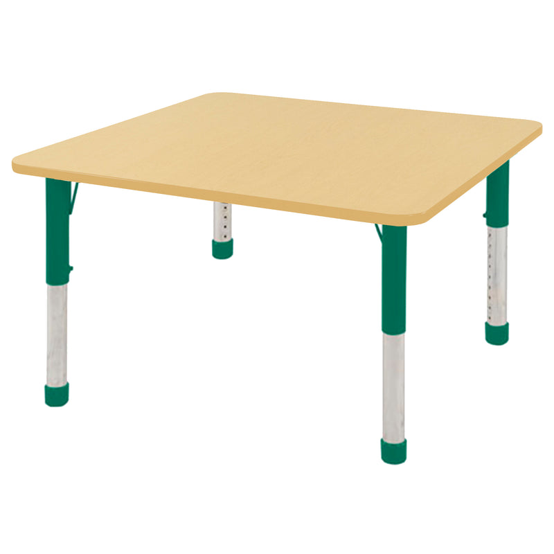 48in x 48in Square Premium Thermo-Fused Adjustable Activity Table Maple/Maple/Green - Chunky Leg