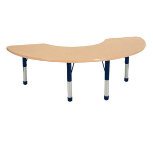 36in x 72in Half Moon Premium Thermo-Fused Adjustable Activity Table Maple/Maple/Navy - Chunky Leg