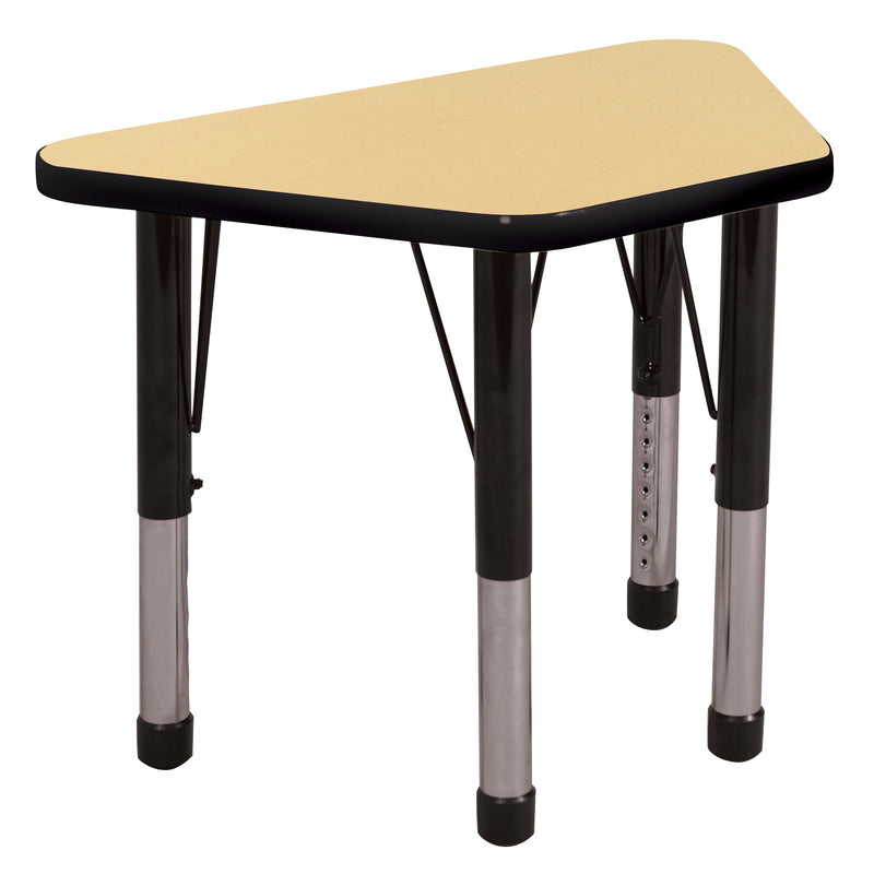 18in x 30in Trapezoid Premium Thermo-Fused Adjustable Activity Table Maple/Black/Black - Chunky Leg