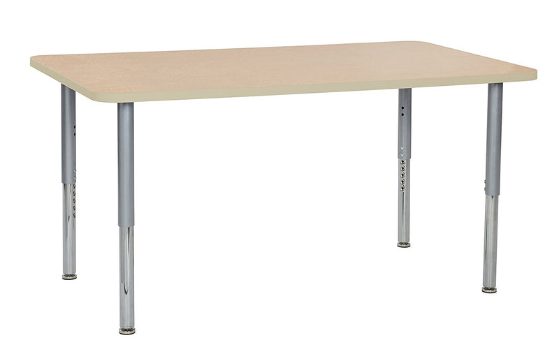 36in x 60in Rectangle Premium Thermo-Fused Adjustable Activity Table Maple/Maple/Silver - Super Leg