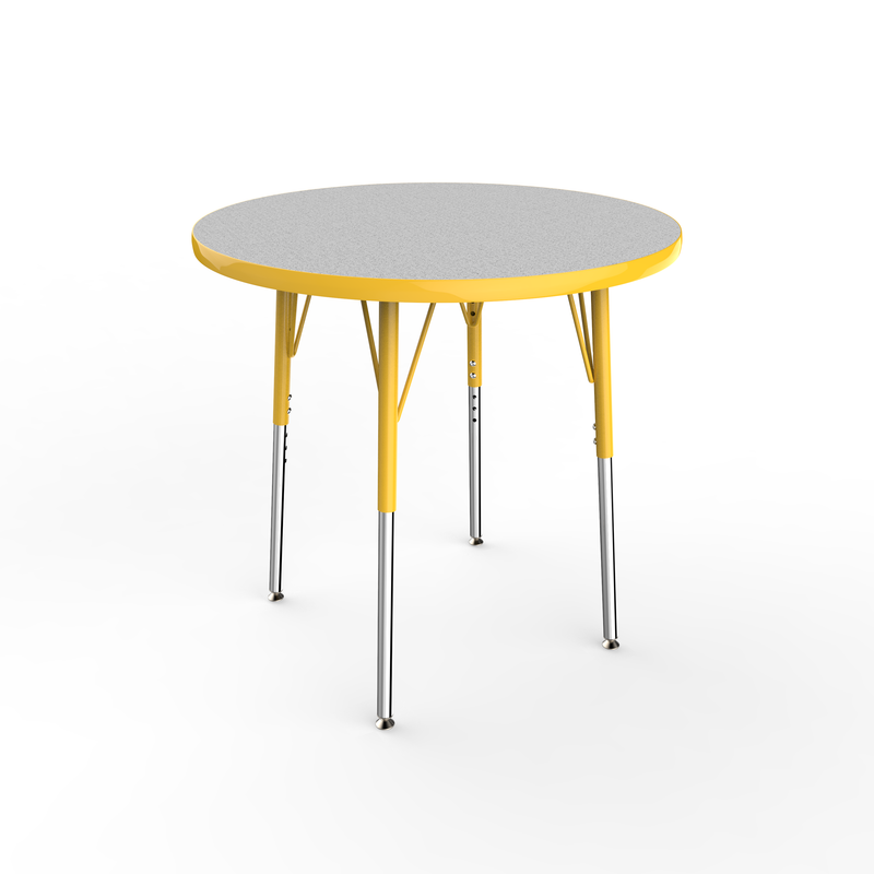 30in Round Premium Thermo-Fused Adjustable Activity Table Grey/Yellow/Yellow - Standard Swivel