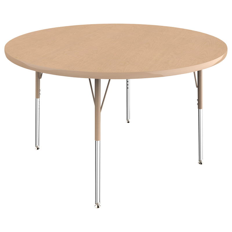 48in Round Premium Thermo-Fused Adjustable Activity Table Maple/Maple/Sand - Standard Swivel