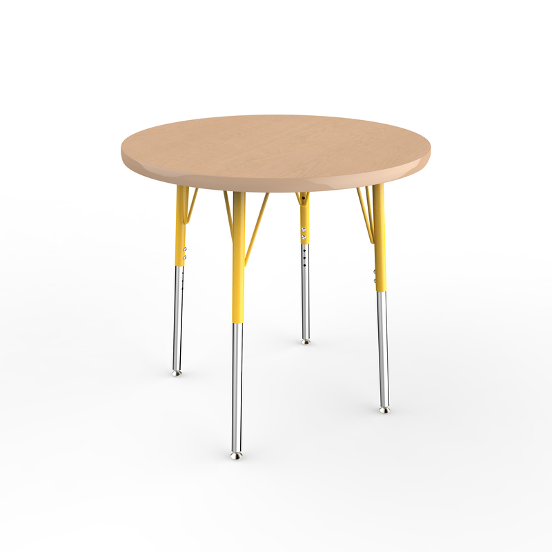 30in Round Premium Thermo-Fused Adjustable Activity Table Maple/Maple/Yellow - Standard Swivel