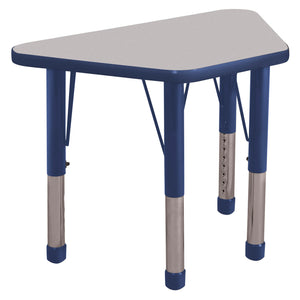 18in x 30in Trapezoid Premium Thermo-Fused Adjustable Activity Table Grey/Navy/Navy - Chunky Leg