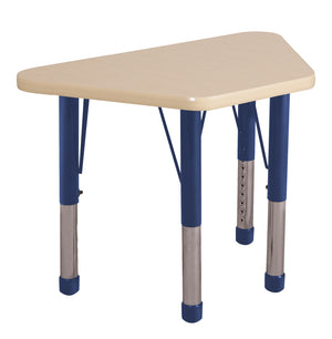 18in x 30in Trapezoid Premium Thermo-Fused Adjustable Activity Table Maple/Maple/Navy - Chunky Leg