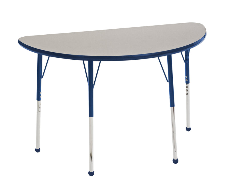 24in x 48in Half Round Premium Thermo-Fused Adjustable Activity Table Grey/Navy/Navy - Standard Ball