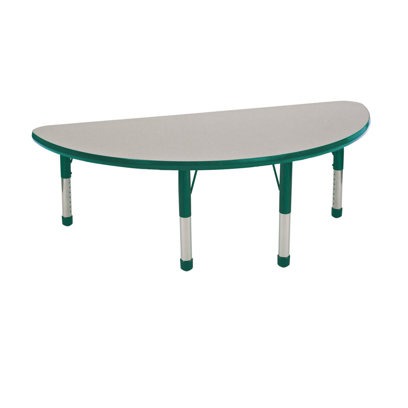 24in x 48in Half Round Premium Thermo-Fused Adjustable Activity Table Grey/Green/Green - Chunky Leg
