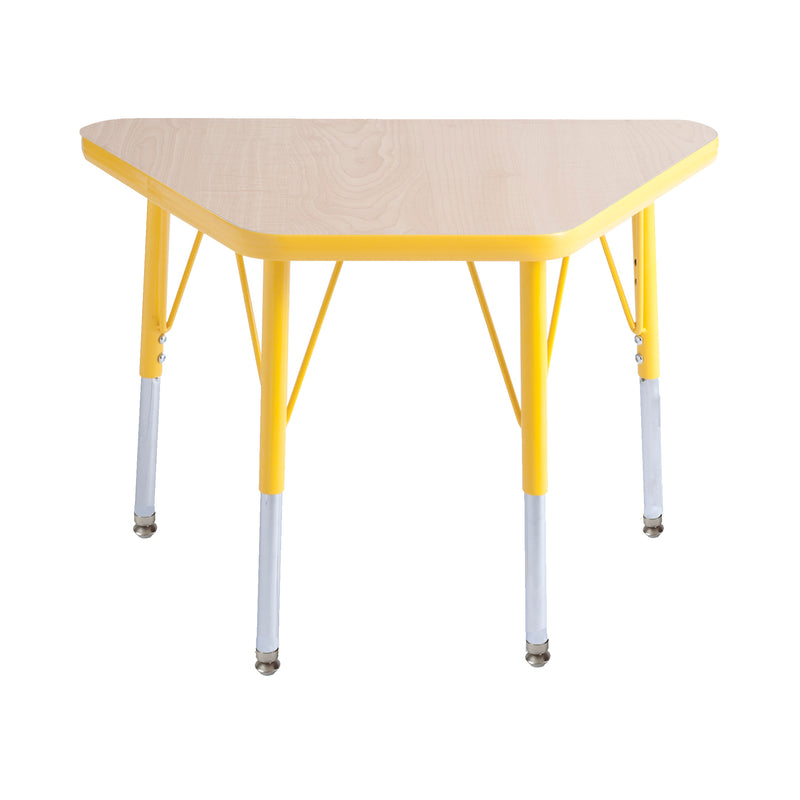 18in x 30in Trapezoid Premium Thermo-Fused Adjustable Activity Table Maple/Yellow/Yellow - Standard Swivel