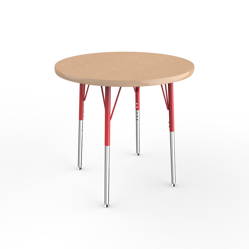 30in Round Premium Thermo-Fused Adjustable Activity Table Maple/Maple/Red - Standard Swivel