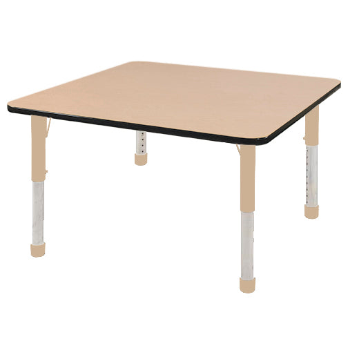 48in x 48in Square Premium Thermo-Fused Adjustable Activity Table Maple/Black/Sand - Chunky Leg