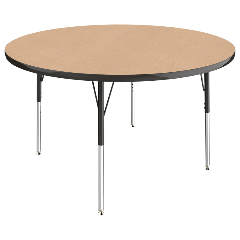 48in Round Premium Thermo-Fused Adjustable Activity Table Maple/Black/Black - Standard Swivel