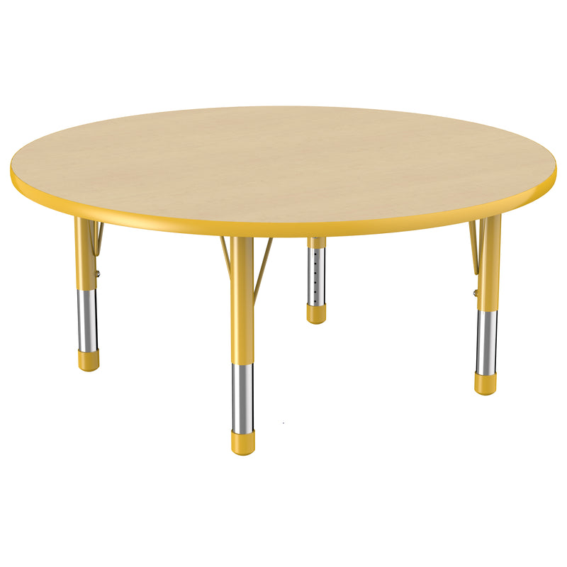 48in Round Premium Thermo-Fused Adjustable Activity Table Maple/Yellow/Yellow - Chunky Leg