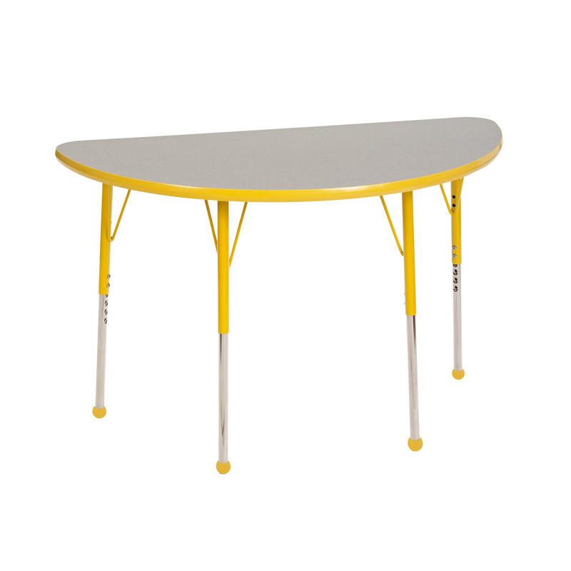 24in x 48in Half Round Premium Thermo-Fused Adjustable Activity Table Grey/Yellow/Yellow - Standard Ball