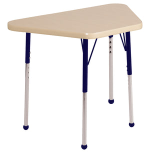 18in x 30in Trapezoid Premium Thermo-Fused Adjustable Activity Table Maple/Maple/Navy - Standard Ball