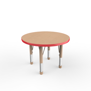 30in Round Premium Thermo-Fused Adjustable Activity Table Maple/Red/Sand - Chunky Leg