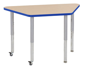24in x 48in Trapezoid Premium Thermo-Fused Adjustable Activity Table Maple/Blue/Silver - Super Leg