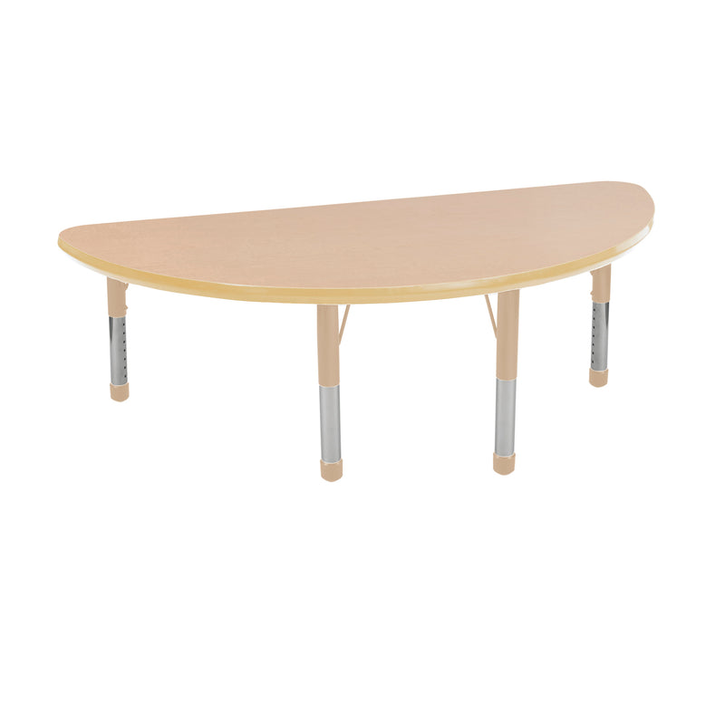 24in x 48in Half Round Premium Thermo-Fused Adjustable Activity Table Maple/Maple/Sand - Chunky Leg