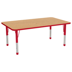 36in x 60in Rectangle Premium Thermo-Fused Adjustable Activity Table Maple/Maple/Red - Chunky Leg