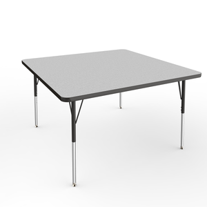 48in x 48in Square Premium Thermo-Fused Adjustable Activity Table Grey/Black/Black - Standard Swivel