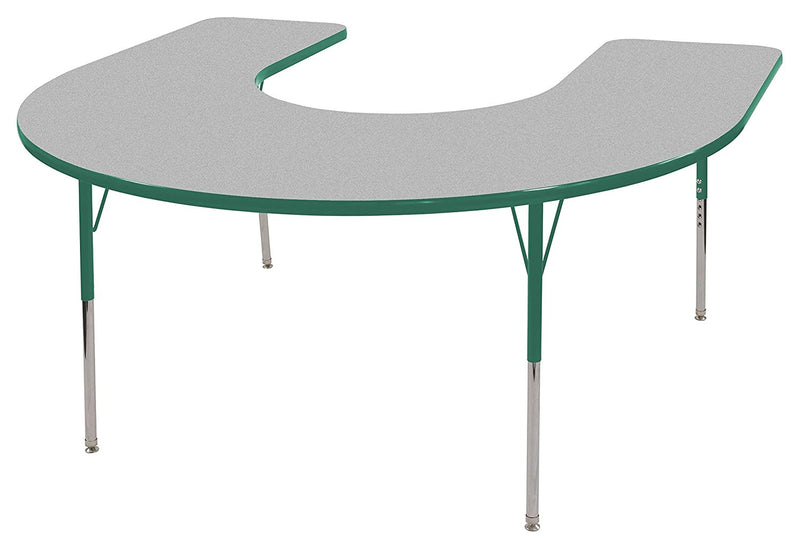 60in x 66in Horseshoe Everyday T-Mold Adjustable Activity Table Grey/Green - Standard Swivel with Seven 14in Stack Chairs Green - Swivel Glide