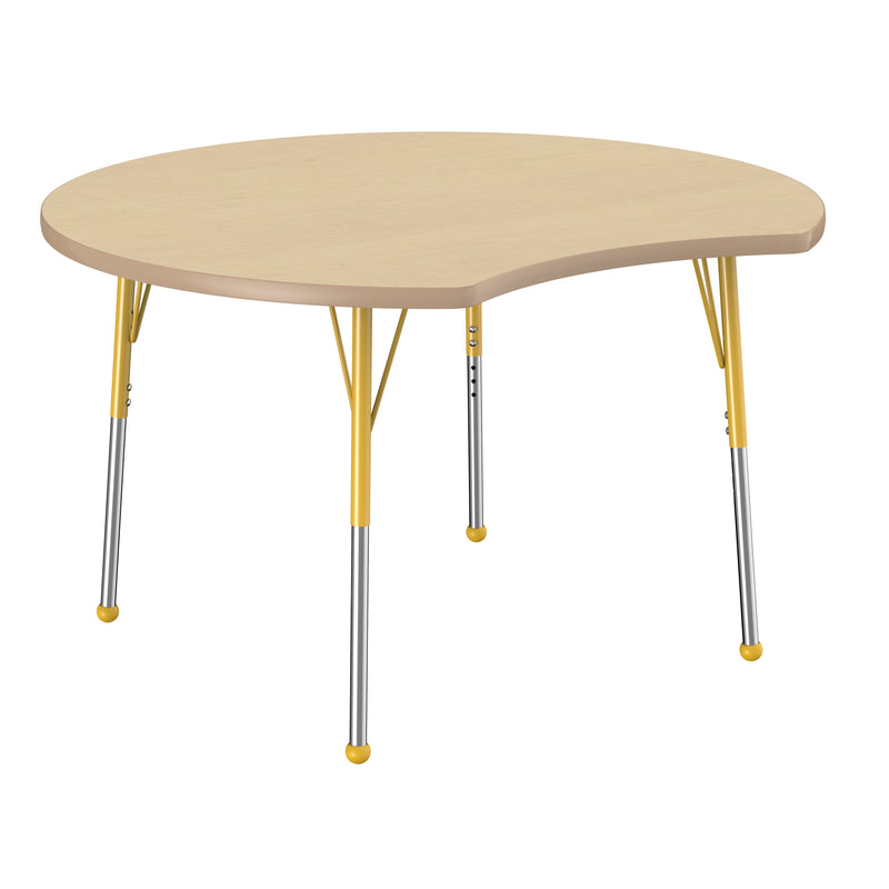 48in Crescent Premium Thermo-Fused Adjustable Activity Table Maple/Maple/Yellow - Standard Ball