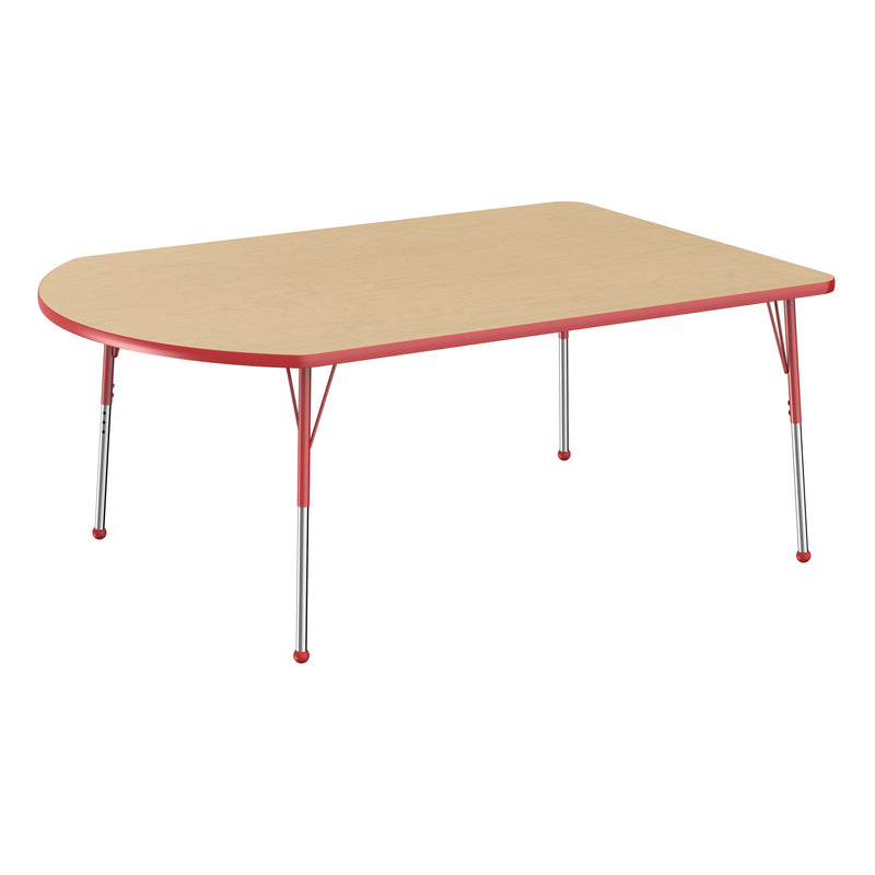 48in x 72in Work Around Premium Thermo-Fused Adjustable Activity Table Maple/Red/Red - Standard Ball