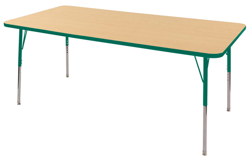 36in x 72in Rectangle Premium Thermo-Fused Adjustable Activity Table Maple/Green/Green - Standard Swivel