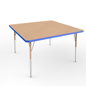 48in x 48in Square Premium Thermo-Fused Adjustable Activity Table Maple/Blue/Sand - Standard Swivel