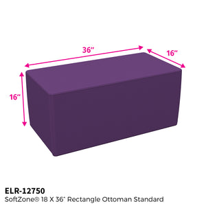 SoftZone® 18in x 36in Rectangular Ottoman Standard - Purple