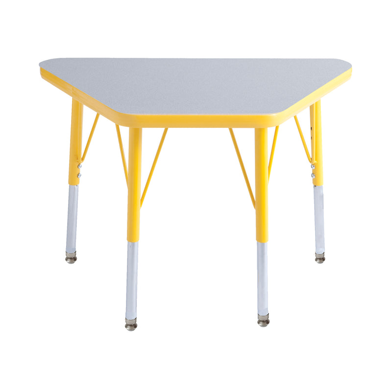 18in x 30in Trapezoid Premium Thermo-Fused Adjustable Activity Table Grey/Yellow/Yellow - Standard Swivel