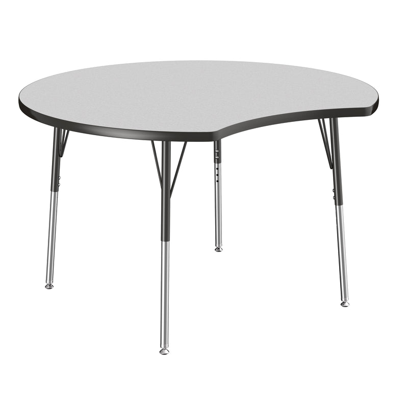 48in Crescent Premium Thermo-Fused Adjustable Activity Table Grey/Black/Black - Standard Swivel