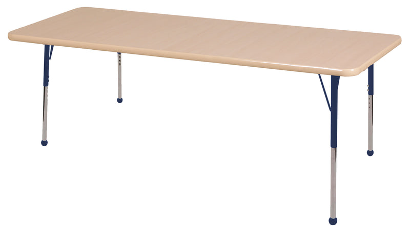36in x 72in Rectangle Premium Thermo-Fused Adjustable Activity Table Maple/Maple/Navy - Standard Ball