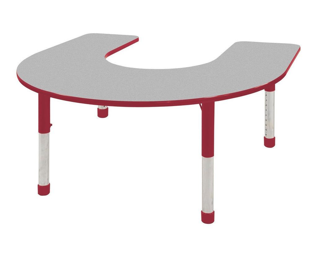 60in x 66in Horseshoe Everyday T-Mold Adjustable Activity Table Grey/Red - Chunky with 9-10in Stack Chairs Red - Ball Glide