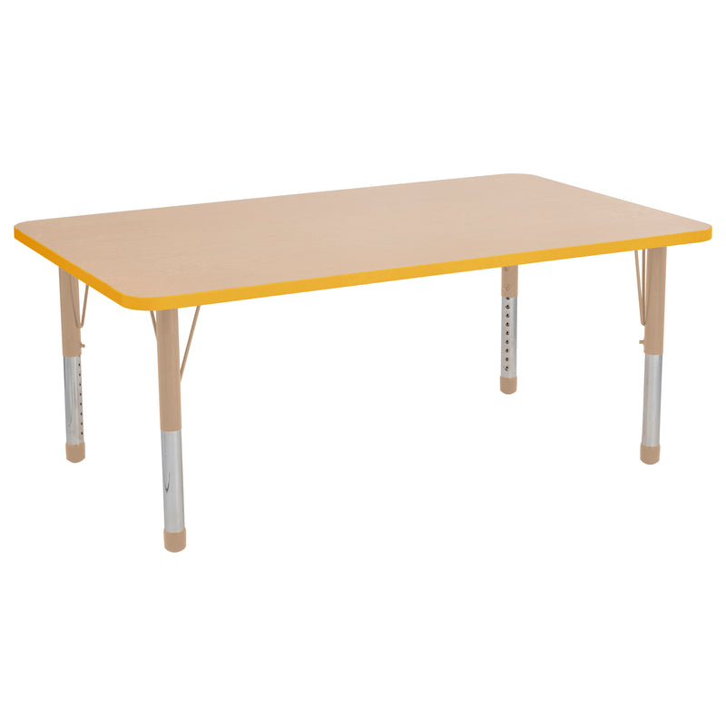 36in x 60in Rectangle Premium Thermo-Fused Adjustable Activity Table Maple/Yellow/Sand - Chunky Leg