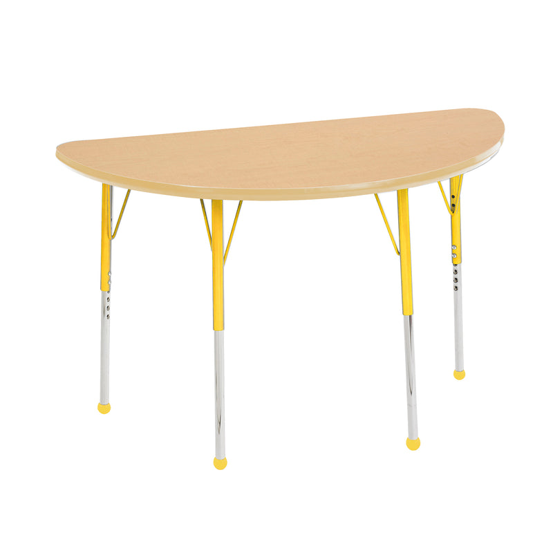 24in x 48in Half Round Premium Thermo-Fused Adjustable Activity Table Maple/Maple/Yellow - Standard Ball