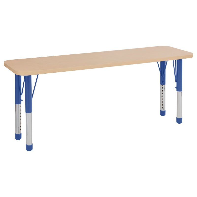 18in x 60in Rectangle Premium Thermo-Fused Adjustable Activity Table Maple/Maple/Blue - Chunky Leg