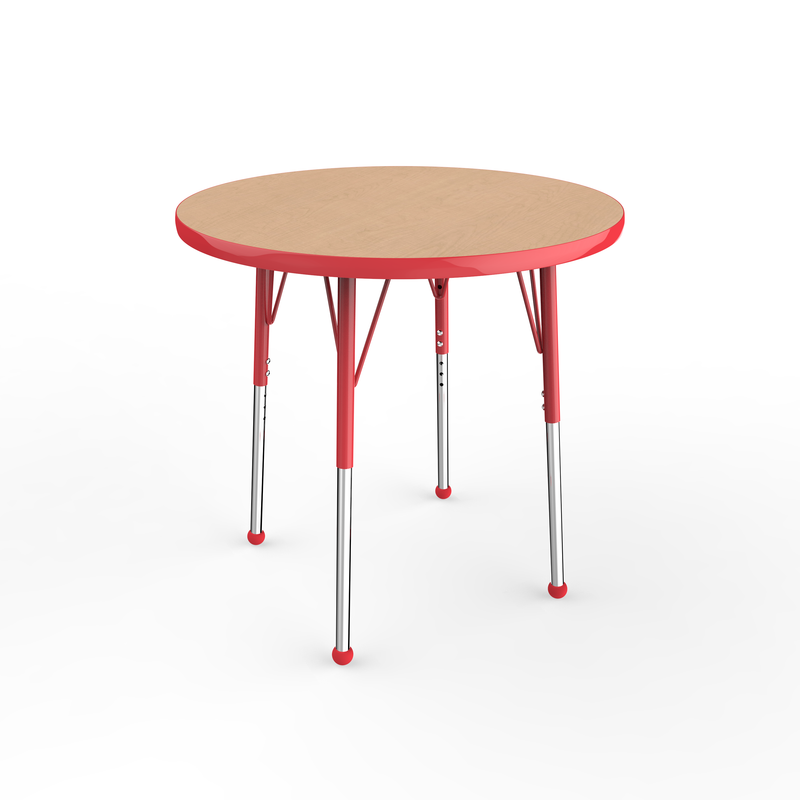 30in Round Premium Thermo-Fused Adjustable Activity Table Maple/Red/Red - Standard Ball