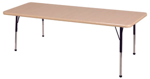 36in x 72in Rectangle Premium Thermo-Fused Adjustable Activity Table Maple/Maple/Black - Standard Ball