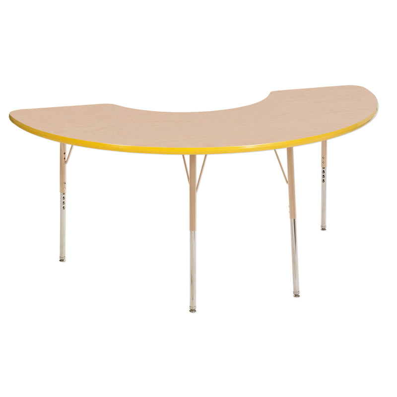 36in x 72in Half Moon Premium Thermo-Fused Adjustable Activity Table Maple/Yellow/Sand - Standard Swivel