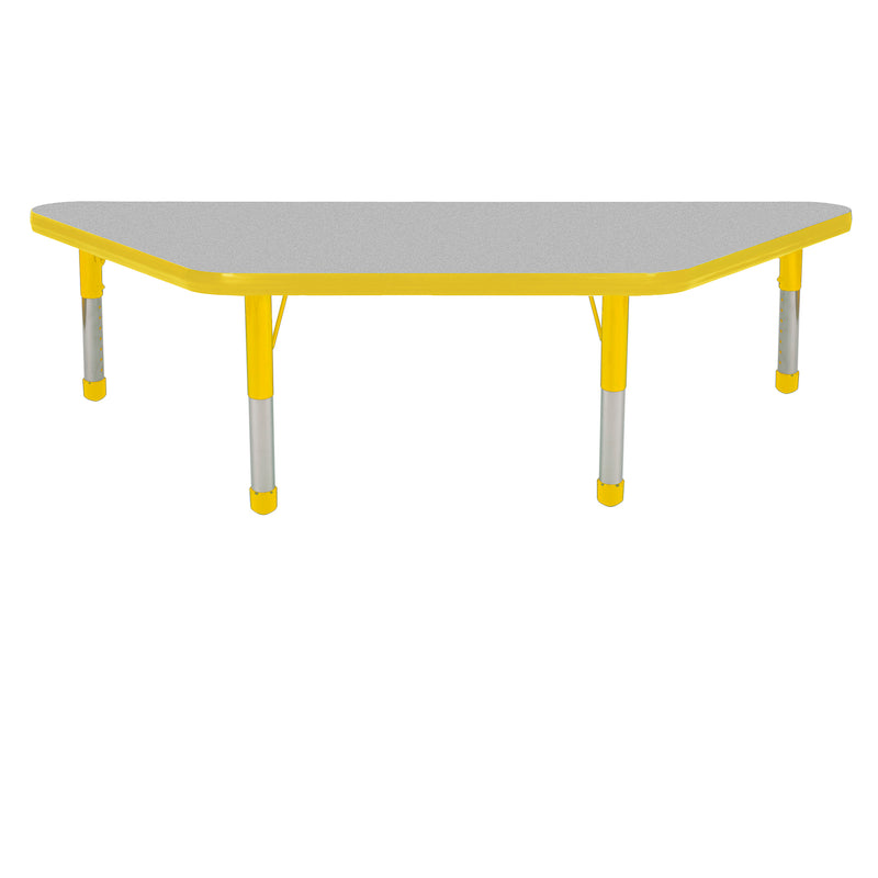 24in x 48in Trapezoid Premium Thermo-Fused Adjustable Activity Table Grey/Yellow/Yellow - Chunky Leg