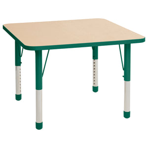 36in x 36in Square Premium Thermo-Fused Adjustable Activity Table Maple/Green/Green - Chunky Leg