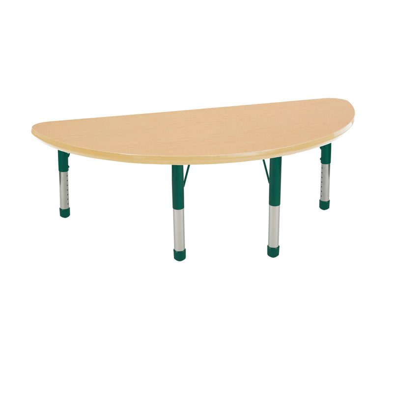 24in x 48in Half Round Premium Thermo-Fused Adjustable Activity Table Maple/Maple/Green - Chunky Leg