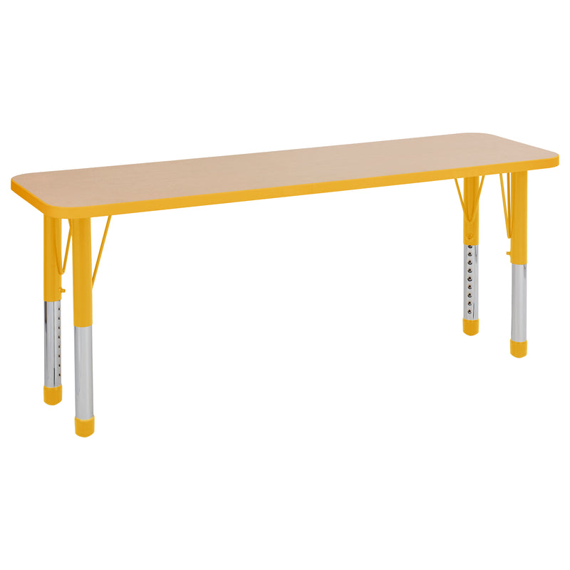 18in x 60in Rectangle Premium Thermo-Fused Adjustable Activity Table Maple/Yellow/Yellow - Chunky Leg