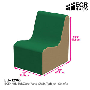 SoftZone® Wave Toddler Chair 2-Pack - Green/Sand