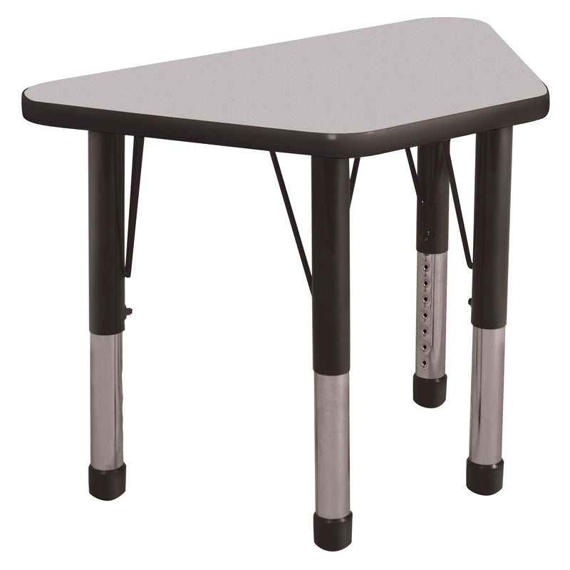 18in x 30in Trapezoid Everyday T-Mold Adjustable Activity Table Grey/Black - Chunky Leg