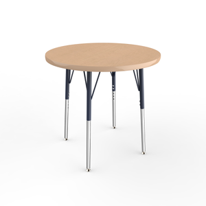 30in Round Premium Thermo-Fused Adjustable Activity Table Maple/Maple/Navy - Standard Swivel